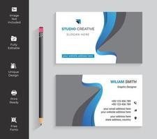 tarjeta de visita dinámica azul y grave de la onda
