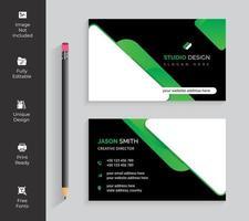 tarjeta de visita triangular redondeada blanca y verde vector