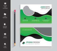 Green and Black Horizontal Wave Shapes Business Card