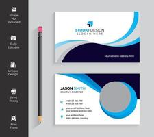 Cyan and Navy Dynamic Wave Business Card