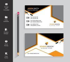 Orange Geometric Angle Design Business Card