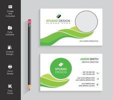 cartão de visita elegante verde da forma de onda