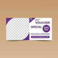 cupón de regalo de esquina redondeada púrpura vector