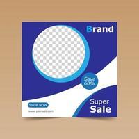 modello di post social media cerchio super vendita blu