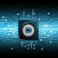 Futuristic Eye for Security on Micro Chip Pattern vector