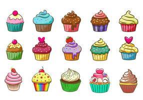 conjunto colorido cupcake vector
