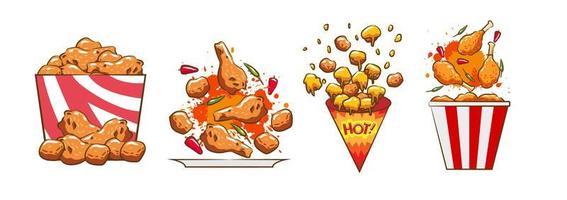 conjunto de pollo frito vector