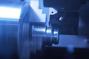 Close-up of a CNC machine at work.