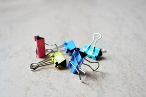Set of colored paper clips photo