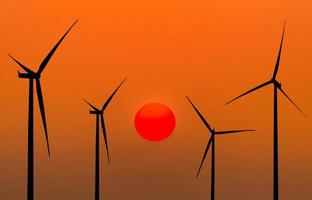 silhouette wind turbines energy from natural photo