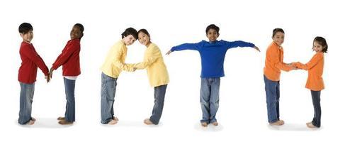 Diverse School Children Spell the Subject Math photo