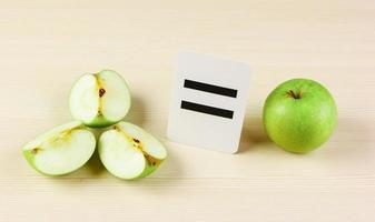 School card and apple with math problems photo