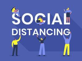 Social Distancing Typography with People vector