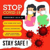 Stop Covid-19 Awareness Poster Design vector
