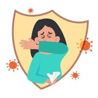 Lady Sneezing in Elbow Health Concept vector