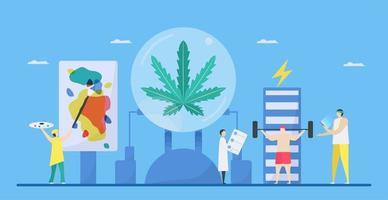 estilo plano de los beneficios del cannabis vector