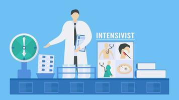 Intensivist working in hospital to find treatment for diseases. vector