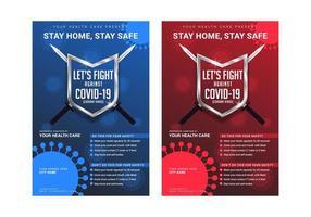 moderno creativo combattiamo contro il modello di poster di consapevolezza del virus corona