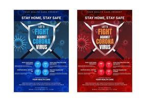 plantilla de póster de conciencia corona virus covid-19 para la atención de salud pública