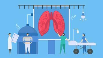 exploración médica para verificar la radiografía de los pulmones vector