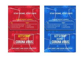 Creative and abstract red  blue let's fight against corona virus awareness poster