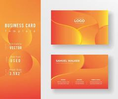 Yellow and Red Gradient Business Card Template vector
