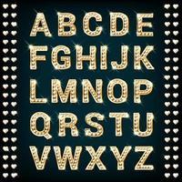 alfabeto de diamantes de corazón de oro vector