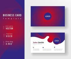 Business Card Template With Red and Purple Gradient