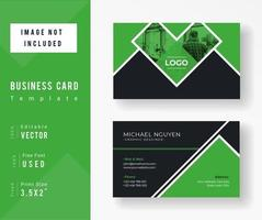 Green abd Black Triangle Business Card Template
