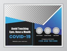 Blue and Black Covid 19 Horizontal Flyer Template