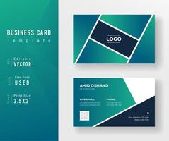 Green Gradient Business Card Template with Angled Section