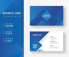 Blue Business Card Template with Diamond Design vector