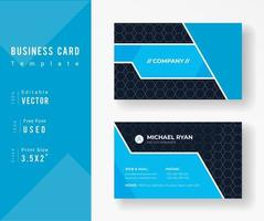 Blue Business Card Template with Hexagon Pattern