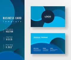 tarjeta de visita en tonos azules con diseños circulares vector