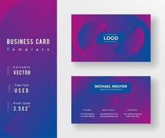 Purple Blue Gradient Half Circle Business Card Template