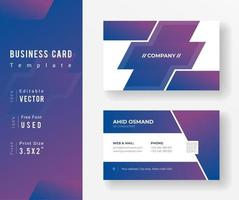 Purple Gradient Business Card Template with Plus Shape