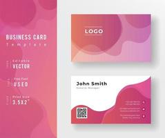 Gradient Pink Business Card Template with Wavy Design