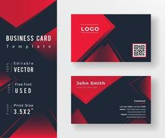 Red and Black Triangle Shape Business Card Template