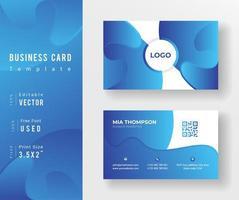 Gradient Blue Fluid Shapes Business Card Template