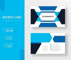 Blue and Black Overlapping Shape Business Card Template