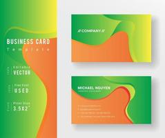 Orange and Green Fluid Shapes Business Card Template