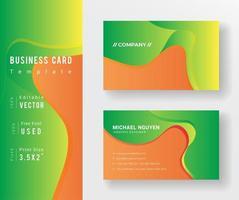modelo de cartão de visita de formas fluidas laranja e verde