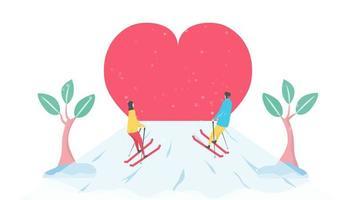 romantisch paar bergopwaarts skiën naar hart