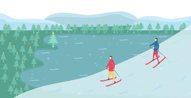 Romantic Couple Skiing Near Lake vector