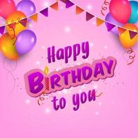 Pink Birthday Flyer with Colorful Garland and Balloons