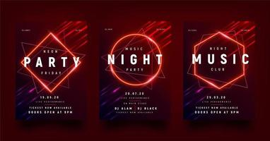 Glowing Red Geometric Shape Party Flyer Set vector