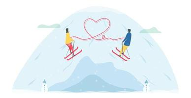 Romantic Skiing Couple Tethered by Heart