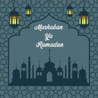 Ramadan Poster with Mosque Silhouette and Star Pattern vector