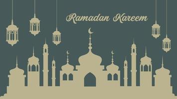 Ramadan Poster with Lanterns and Mosque Silhouette vector