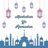 Ramadan Poster with Colorful Lantern and Mosque Silhouette vector